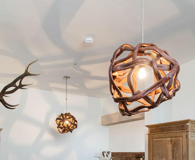 Aparte houten lampen van lianen  u2013 Unieke teakhouten meubelen bij Tectona Gallery